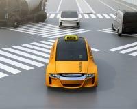 Gul elkraft driven taxi vektor illustrationer