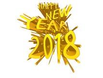 Gul explosion för lyckligt nytt år 2018 Vektor Illustrationer