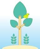 Gul fågel på fejkaträdet Arkivbild