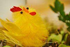 Gul fågelunge i påskgarnering royaltyfri foto