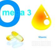 Gul för fiskolja för vitamin omega3 kapsel på vit bakgrundstext Arkivfoto