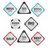 Gul försäljningsklistermärkesamling Arkivfoton