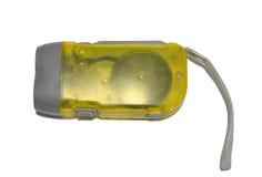 Gul ficklampa på vit bakgrund Royaltyfri Bild