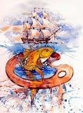 Gul fisk som hoppar i dropparna av vatten Royaltyfri Fotografi