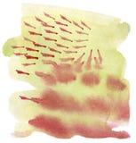 Gul fläck för vattenfärg med röd droppande och fläckar, hand-dragen lutning av varma orange och gula färger för ros, royaltyfri illustrationer