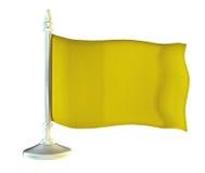 Gul flagga på skinande flaggstång för metall Royaltyfri Foto