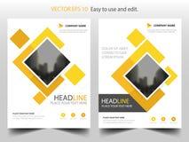 Gul fyrkantig design för mall för årsrapport för reklamblad för affärsbroschyrbroschyr, bokomslagorienteringsdesign, abstrakt pre
