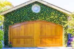 Gul garagedörr med gröna växter arkivfoto