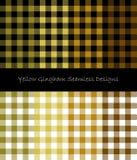 Gul gingham och skogsarbetare Seamless Designs Stock Illustrationer