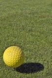 Gul golfboll Royaltyfria Bilder