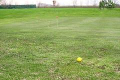 Gul golfboll på kurs Royaltyfri Fotografi