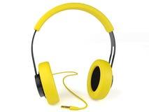 Gul hörlurar 3D. Symbol. Royaltyfri Bild