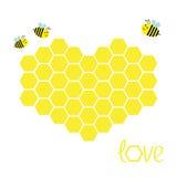 Gul honungskakauppsättning i form av hjärta Bikupabeståndsdel Honungsymbol Älska hälsningskortet isolerat Vit bakgrund Plan desig Royaltyfria Bilder