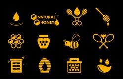 Gul honungsymbolsuppsättning Arkivfoto