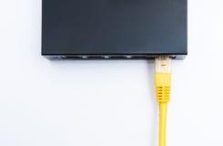 Gul kabel förbindelse till routeren Royaltyfri Fotografi
