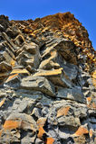 Gul klippa av sandsten Arkivbild