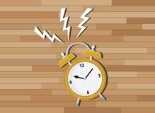 Gul klockastopptid med wood bakgrund stock illustrationer