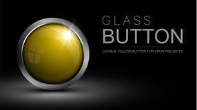 Gul knapp för exponeringsglas för rengöringsdukdesign och andra projekt royaltyfri illustrationer