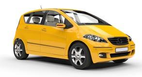 Gul kompakt bil- sidosikt Fotografering för Bildbyråer
