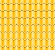 Gul korrugerad tegelplattavektor seamless modell Klassisk räkning för keramiska tegelplattor Fragment av takillustrationen Fotografering för Bildbyråer
