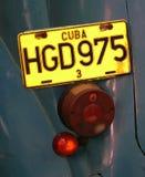 Gul kubansk registreringsskylt Royaltyfria Foton