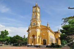 Gul kyrka i Ayutthaya, Thailand Arkivbilder