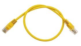 Gul LAN-kabel på vit royaltyfri foto