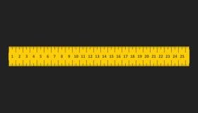 Gul linjal Instrument av mätningsvektorillustrationen Fotografering för Bildbyråer