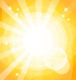 Gul ljus bakgrund med strålar stock illustrationer