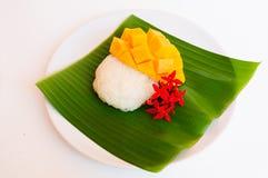 Gul mango med klibbiga ris Royaltyfria Bilder