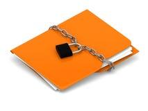 Gul mapp med kedjan och låset sammankoppliner för kopieringsdata för begreppet konventionell avstånd för säkerhet för padlocken f Fotografering för Bildbyråer
