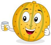Gul melon med ny sammanpressad fruktsaft Arkivfoto