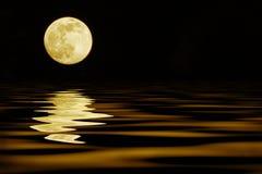 Gul måne över havet Royaltyfri Fotografi