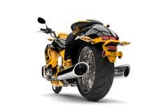 Gul modern avbrytarmotorcykel för sol - closeupskott för bakre hjul Fotografering för Bildbyråer