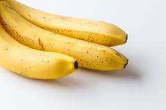 Gul mogen banan på en vit bakgrund Arkivfoton