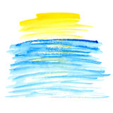 Gul och blå vattenfärgvektorfläck Royaltyfri Bild