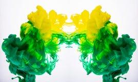 Gul och grön akrylmålarfärg, abstrakta undervattens- färgmoln Makro som skjutas av akrylpigmentet som blandar i flytande Två royaltyfria foton