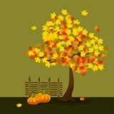 Gul och orange lönn royaltyfri illustrationer
