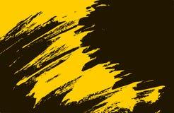 Gul och svart bakgrund för slaglängder för målarfärgborste stock illustrationer