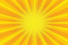 Gul orange bakgrund för strålar för solpopkonst retro