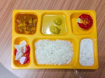 Gul platta av mat med variation av matobjekt arkivbilder