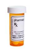 Gul preventivpillerflaska Royaltyfri Bild
