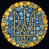 Gul quilling dekorativ mosaik för ukrainska treuddblått Arkivfoton