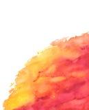 Gul röd abstrakt textur för vattenfärg Fotografering för Bildbyråer