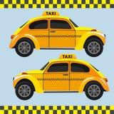 Gul retro taxi ljus vektorvärld för konst Royaltyfri Foto