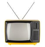 Gul retro tv Arkivfoto