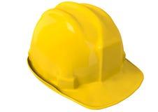 Gul säkerhetshjälm eller hård hatt på vit bakgrund Fotografering för Bildbyråer