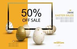 Gul sammansättning för påsk med en uppsättning av ägg och en fyrkantig ram, broschyr, vektor illustrationer