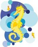 Gul seahorse i det stiliserade havet royaltyfri illustrationer