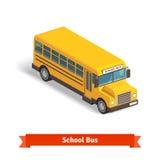 Gul skolbuss i isometrisk 3d Fotografering för Bildbyråer